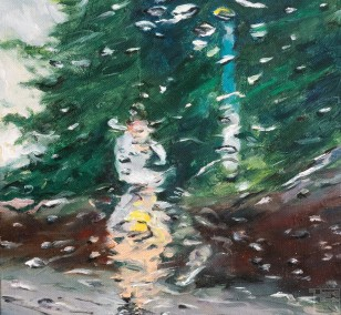 Run errands in the rain I | Malerei von Künstlerin Simone Westphal, Öl auf Leinwand