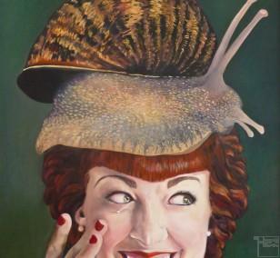 Caroline Edle von Schneckenbrot | painting by Eva Nordal | oil on cotton, realistic art