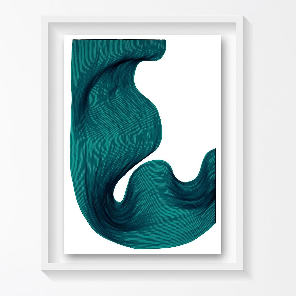 Sea Green  | Lali Torma | Zeichnung | Kalligraphietusche auf Papier, gerahmt